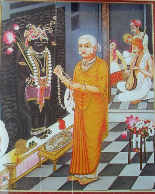 Shri Gusainji doing sewa for ShreeNathji