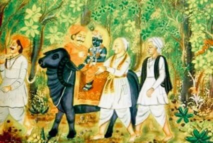 ShreeNathji riding a Buffalo to Toad ka ghana